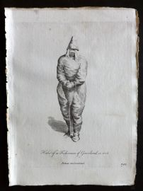 Jefferys 1772 Costume Print. Habit of a Fisherman of Greenland in 1626